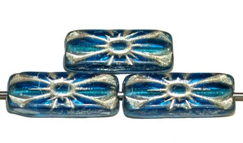 Best.Nr.:59303 vintage style Glasperlen mit Blütenornament,  aqua transp. mit Silberauflage,  nach alten Vorlagen aus den 1930 Jahren in Gablonz / Tschechien neu gefertigt