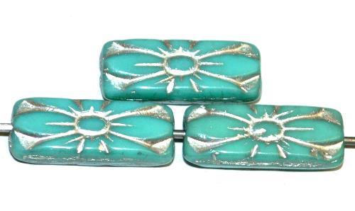 Best.Nr.:59305 vintage style Glasperlen mit Blütenornament, türkis opak mit Silberauflage,  nach alten Vorlagen aus den 1930 Jahren in Gablonz / Tschechien neu gefertigt