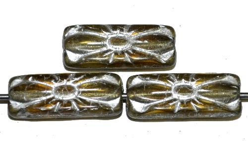 Best.Nr.:59306 vintage style Glasperlen mit Blütenornament,  olivbraun transp. mit Silberauflage,  nach alten Vorlagen aus den 1930 Jahren in Gablonz / Tschechien neu gefertigt