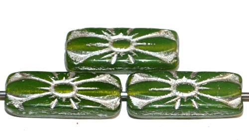 Best.Nr.:59307 vintage style Glasperlen mit Blütenornament, grün transp. mit Silberauflage,  nach alten Vorlagen aus den 1930 Jahren in Gablonz / Tschechien neu gefertigt