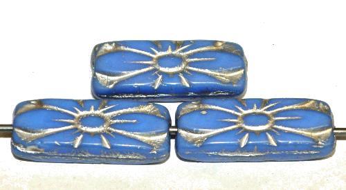 Best.Nr.:59308 vintage style Glasperlen mit Blütenornament, kornblumenblau opak mit Silberauflage,  nach alten Vorlagen aus den 1930 Jahren in Gablonz / Tschechien neu gefertigt