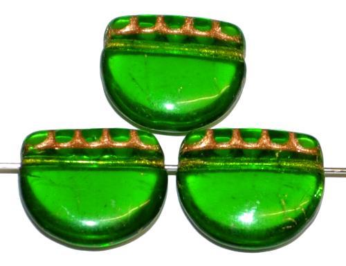 Best.Nr.:59309 vintage style Glasperlen, nach alten Vorlagen aus den 1920 Jahren neu gefertigt in Gablonz / Tschechien , grün transparent mit Goldauflage