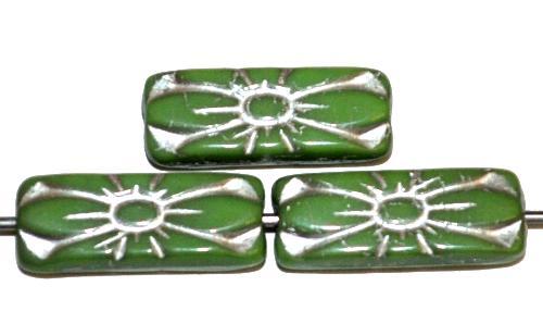 Best.Nr.:59310 vintage style Glasperlen mit Blütenornament, grün opak mit Silberauflage,  nach alten Vorlagen aus den 1930 Jahren in Gablonz / Tschechien neu gefertigt