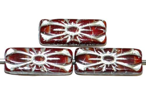 Best.Nr.:59165 vintage style Glasperlen mit Blütenornamen, rotbraun meliert mit Silberauflage,  nach alten Vorlagen aus den 1930 Jahren in Gablonz / Tschechien neu gefertigt
