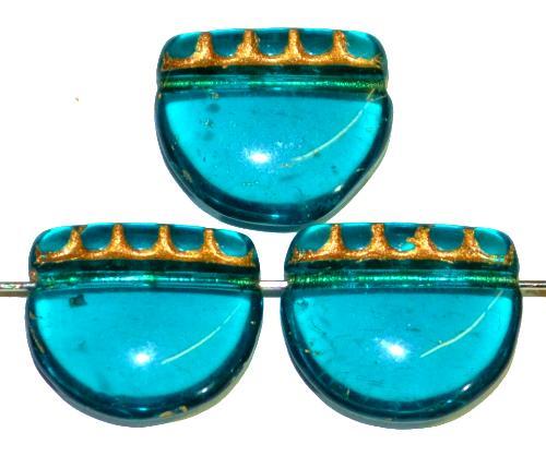 Best.Nr.:59312 vintage style Glasperlen, nach alten Vorlagen aus den 1920 Jahren neu gefertigt in Gablonz / Tschechien ,montanablau transparent mit Goldauflage