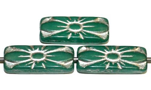 Best.Nr.:59315 vintage style Glasperlen mit Blütenornament, alabastertürkis mit Silberauflage,  nach alten Vorlagen aus den 1930 Jahren in Gablonz / Tschechien neu gefertigt