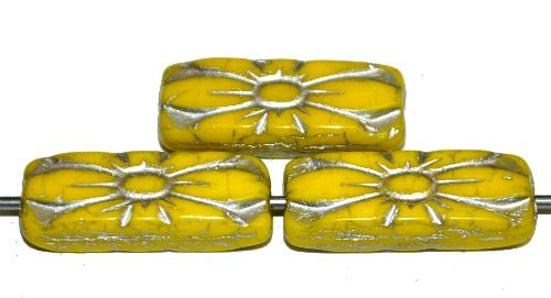 Best.Nr.:59316  vintage style Glasperlen mit Blütenornament, gelb opak mit Silberauflage,  nach alten Vorlagen aus den 1930 Jahren in Gablonz / Tschechien neu gefertigt