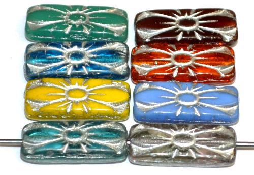 Best.Nr.:59317  vintage style Glasperlen mit Blütenornament, Farbmix mit Silberauflage,  nach alten Vorlagen aus den 1930 Jahren in Gablonz / Tschechien neu gefertigt