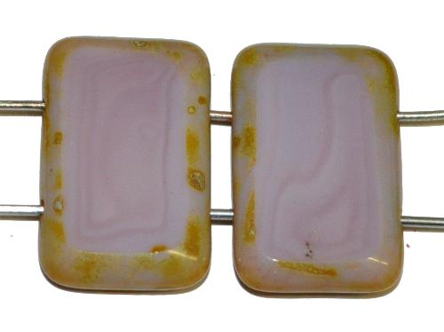 Best.Nr.:67374 Glasperlen / Table Cut Beads geschliffen  mit 2 Löchern  violett opak mit picasso finish,  hergestellt in Gablonz / Tschechien