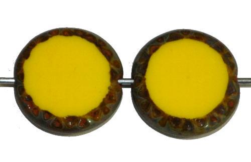 Best.Nr.:671250 Glasperlen / Table Cut Beads geschliffen Scheiben,  gelb opak mit picasso finish, hergestellt in Gablonz Tschechien