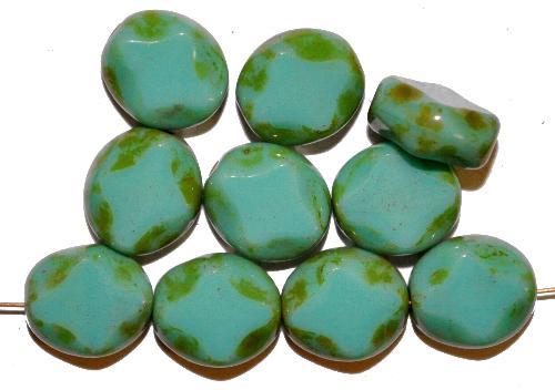 Best.Nr.:67446 Glasperlen / Table Cut Beads  geschliffen, türkisgrün opak mit picasso finish,  hergestellt in Gablonz Tschechien