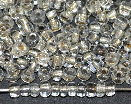 Best.Nr.:61195 Rocailles um 1940/50 in Gablonz/Böhmen hergestellt,  kristall mit Silbereinzug zum Teil angelaufen (sehen sehr schön vintage aus)