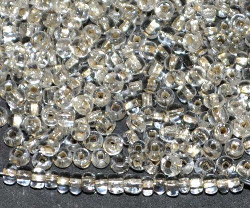 Best.Nr.:61263 Rocailles um 1940/50 in Gablonz/Böhmen hergestellt,  kristall mit Silbereinzug