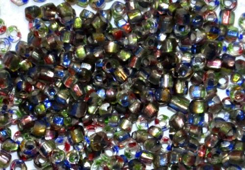 Best.Nr.:62117 3-Cutbeads  in den1940/50 Jahren in Gablonz/Böhmen hergestellt,  grün rot blau gestreift mit Silbereinzug,