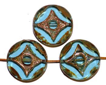 Best.Nr.:671013 Glasperlen / Table Cut Beads türkis transp., geschliffen mit burning silver picasso finish