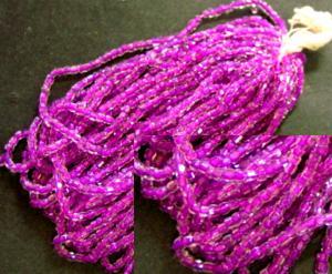 Best.Nr.:62070 3-Cutbeads in den1930/40 Jahren in Gablonz/Böhmen hergestellt kristall mit Farbeinzug violett