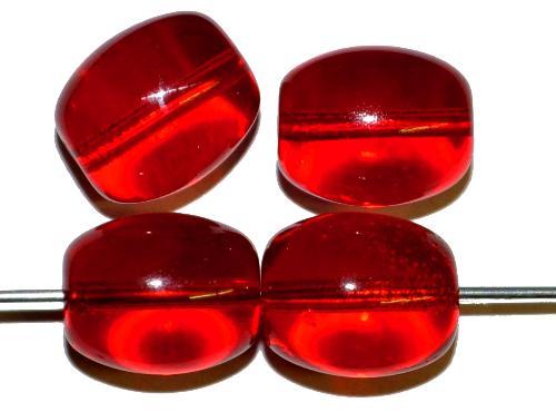 Best.Nr.:63090  Glasperlen Oliven,  1930/40 in Gablonz/Böhmen hergestellt,  rot transp.