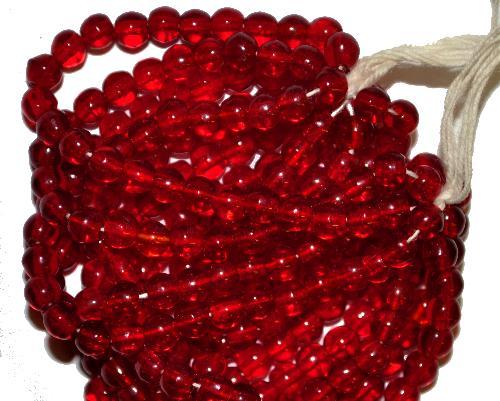 Best.Nr.:63122  Glasperlen rot transp., in den 1920/30 Jahren in Gablonz/Böhmen hergestellt
