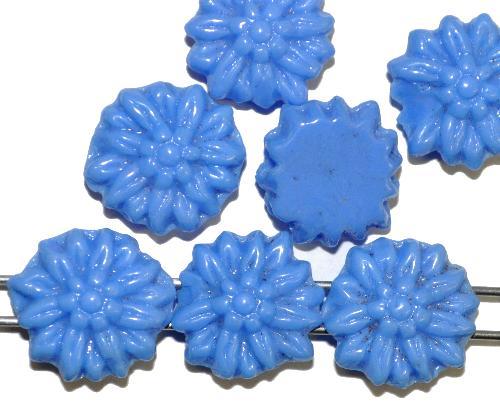 Best.Nr.:63134 Glasperlen mit 2 Löchern,  eingeprägte Blüte,  blau opak,  in den 1920/30 Jahren in Gablonz/Böhmen hergestellt