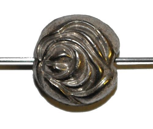 Best.Nr.:63146 Glasperlen in den 1920/30 Jahren in Gablonz/Böhmen hergestellt,  antik silber, beidseitig geprägt