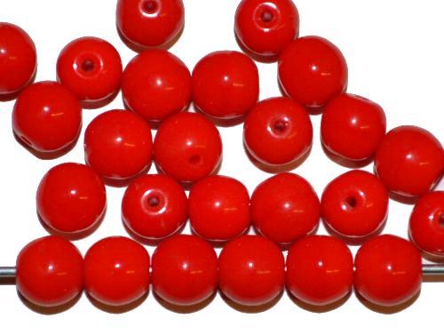 Best.Nr.:63259 Glasperlen rund,  1920/30 Jahren in Gablonz/Böhmen hergestellt,  rot opak