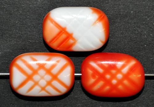 Best.Nr.:63237 Glasperlen,  in den 1960/70 Jahren in Gablonz/Böhmen hergestellt,  orangerot weiß opak