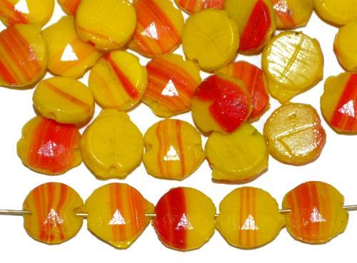 Best.Nr.:63237 Glasperlen Scheiben  in den 1920/30 Jahren in Gablonz/Böhmen hergestellt  gelb rot opak, eine Seite mit Facettenprägung