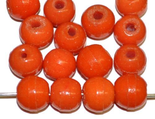 Best.Nr.:63290 Glasperlen Prosserbeads corallrot opak,  in den 1920/30 Jahren in Gablonz/Böhmen  hergestellt