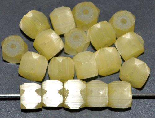Best.Nr.:63433 geschliffene Glasperlen, satin Glas gelb, um 1940/50 in Gablonz/Böhmen hergestellt (nur wenige auf Lager)