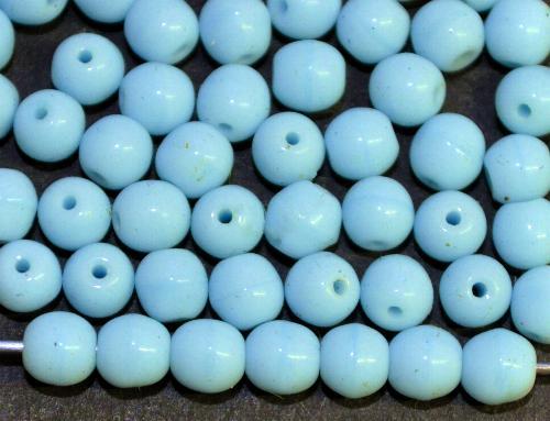 Best.Nr.:63470 Glasperlen rund hellblau opak,  in den 1930/40 Jahren in Gablonz/Böhmen hergestellt