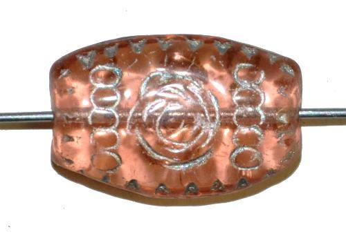 Best.Nr.:63473  Glasperlen geprägt, in den 1920 Jahren in Gablonz/Böhmen hergestellt,  rose transp.,
