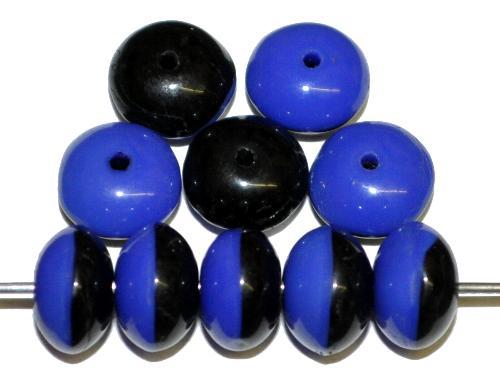 Best.Nr.:63524 Glasperlen rund in den 1930/40 Jahren in Gablonz/Böhmen hergestellt  Linsen blau schwarz