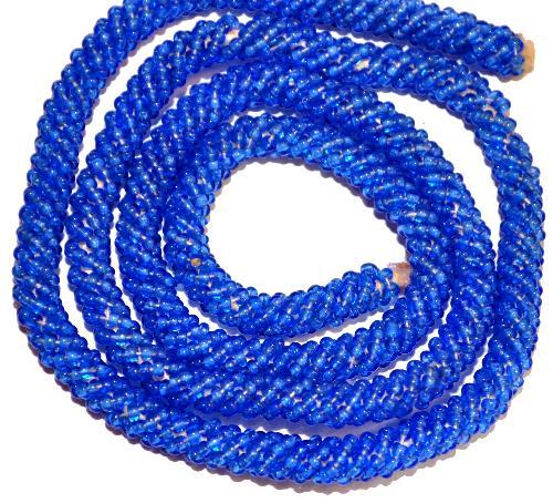 Best.Nr.:63374 mit hellblau transp. Rocailles umwickelte Baumwollkordel  um 1920 in Gablonz/Böhmen hergestellt