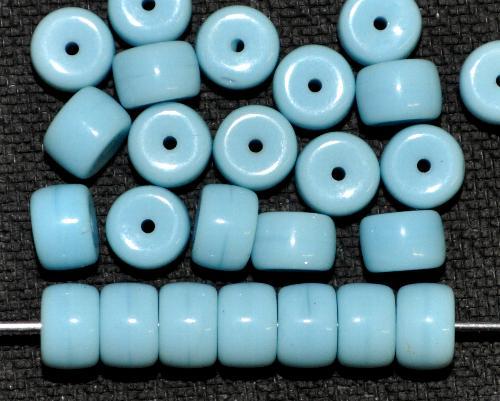 Best.Nr.:63576 Glasperlen Walzen hellblau opak,  in den 1930/40 Jahren in Gablonz/Böhmen hergestellt
