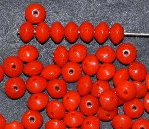 Best.Nr.:63599 Glasperle Linsen, 1930/40 in Gablonz/Böhmen hergestellt, korallrot opak
