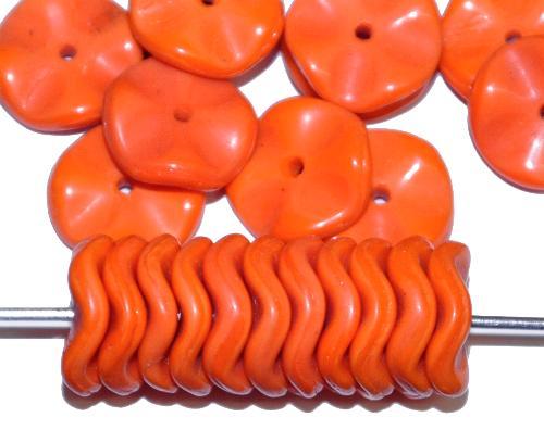 Best.Nr.:63632 Glasperlen Scheiben in der Zeit von 1920 bis 1930 in Gablonz/Böhmen hergestellt, orange opak