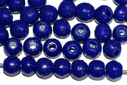 Best.Nr.:63644 Glasperlen rund (Prosserbeads)  dunkelblau opak,  in den 1920/30 Jahren in Gablonz/Böhmen  hergestellt