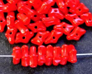 Best.Nr.:63665 Glasperlen in den 1920/30 Jahren in Gablonz/Böhmen hergestellt, korallenimitat rot opak, (Prosserbeads)