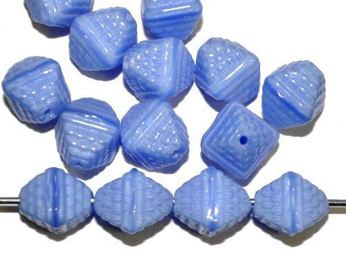 Best.Nr.:63691  Glasperlen Doppepyramide,  mittelblau opak,  in den 1920/30 Jahren in Gablonz/Böhmen hergestellt