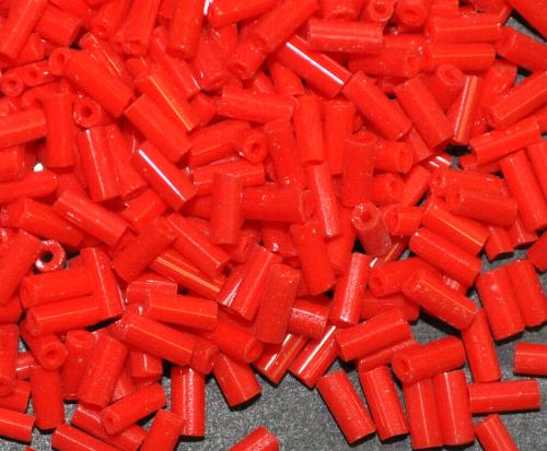 Best.Nr.:63698 Glasperlen in den 1930/40 Jahren in Gablonz/Böhmen hergestellt,  Stiftperlen rot opak