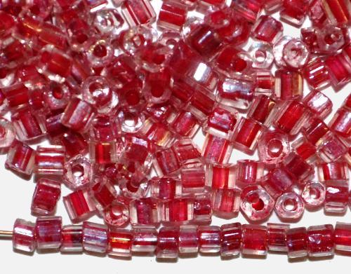 Best.Nr.:63736 Glasperlen / 2-cut Beads  in den 1940/50 Jahren in Gablonz/Böhmen hergestellt,  kristall mt Farbeinzug dunkelrot