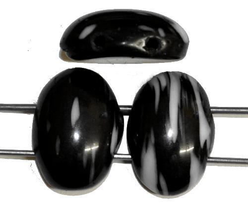 Best.Nr.:63740 Glasperlen mit 2 Löchern, in den 1920/30 Jahren in Gablonz/Böhmen hergestellt  schwarz weiß