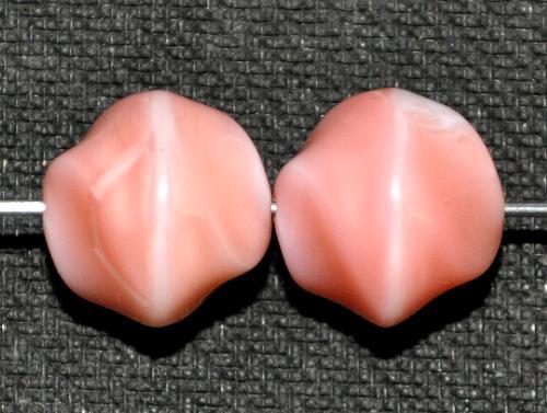 Best.Nr.:63771  Glasperlen Nugetts,  in den 1960/70 Jahren in Gablonz/Böhmen hergestellt,  rosa weiß meliert