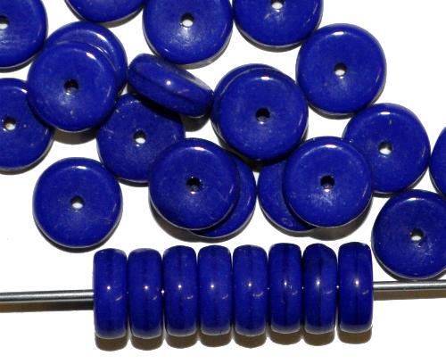 Best.Nr.:63773 Glasperlen in den 1940/50 Jahren in Gablonz/Böhmen hergestellt,  Scheiben dunkelblau opak,