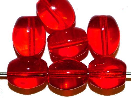 Best.Nr.:63774 Glasperlen Oliven  rot transp., 1940/50 Jahren in Gablonz/Böhmen hergestellt