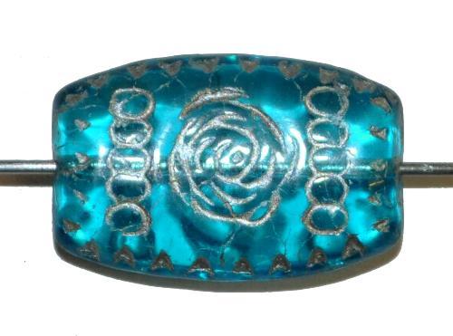 Best.Nr.:63786 Glasperlen geprägt, in den 1920 Jahren in Gablonz/Böhmen hergestellt,  aqua transp.,