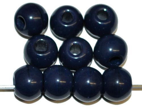 Best.Nr.:63803 Glasperlen rund (Prosserbeads)  nachtblau opak,  in den 1920/30 Jahren in Gablonz/Böhmen  hergestellt