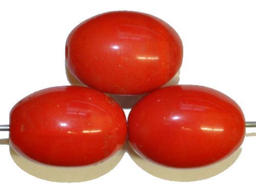 Best.Nr.:63808 Glasperlen Oliven,  in den 1920/30 Jahren in Gablonz/Böhmen hergestellt,  rot opak