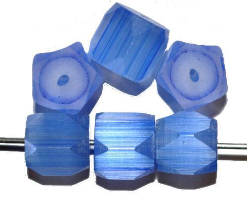 Best.Nr.:63831 geschliffene Glasperlen, satin Glas blau, um 1940/50 in Gablonz/Böhmen hergestellt (nur wenige auf Lager)