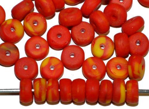 Best.Nr.:63832 Glasperlen rot gelb (Kakamba Beads)  in den 1920/30 Jahren in Gablonz/Böhmen,  für den Afrikahandel hergestellt